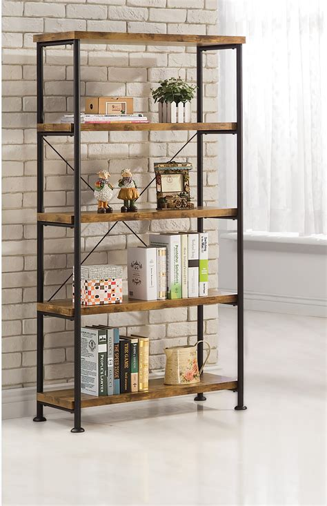 light wood shelves high black steel bookcase with five rectangle light brown