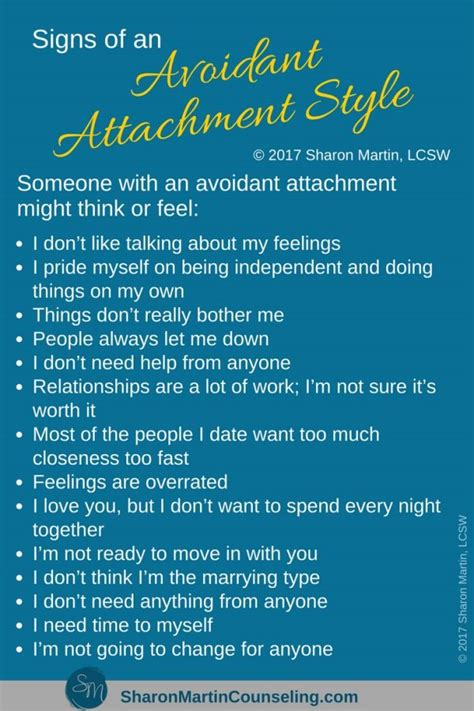 signs   avoidant attachment style sharon martin