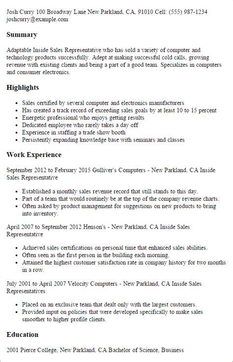 Inside Sales Resume by Inside Sales Resume Keywords Inside Sales Representative