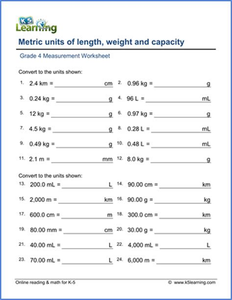 grade 4 math worksheet measurement convert metric