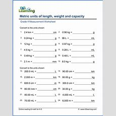 Grade 4 Math Worksheet Convert Lengths, Weights And Volumes (metric)  K5 Learning