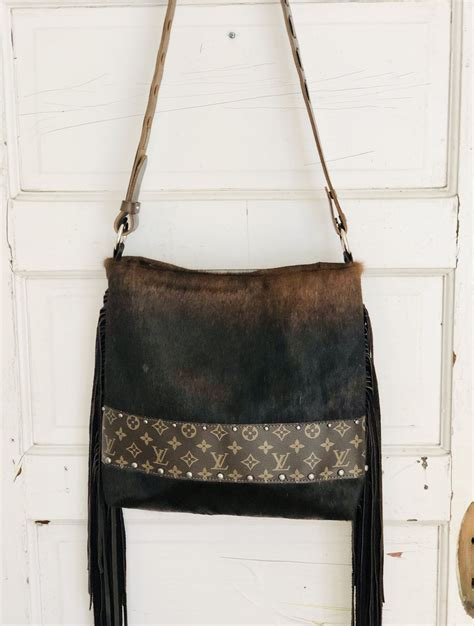 upcycled designer bag cowhide purse boho western chic cowhide purse purses authentic louis