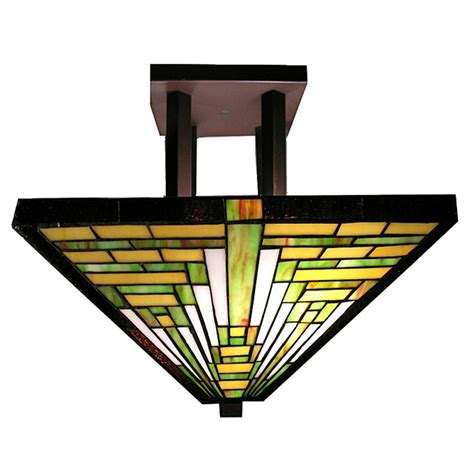 style mission semi flush ceiling light fixture