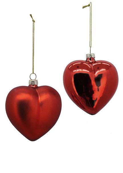 shiny red matte red glass heart christmas tree ornaments