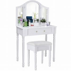 Coiffeuse 3 Miroirs : coiffeuse bois avec grand miroir et tabouret table maquillage blanc helloshop26 1412009 ~ Teatrodelosmanantiales.com Idées de Décoration