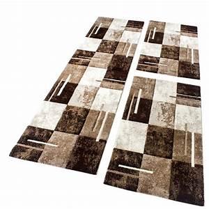Teppich Bettumrandung 3 Teilig : bettumrandung teppich marmor optik karo braun beige creme l uferset 3 tlg teppiche bettumrandungen ~ Bigdaddyawards.com Haus und Dekorationen