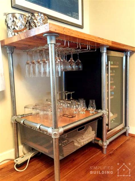 diy beverage cart built  pipe steps  build