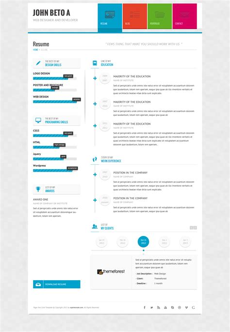 Resume Theme Responsive by Page One Responsive Vcard Cv Resume Wp Theme By Wpamanuke Themeforest