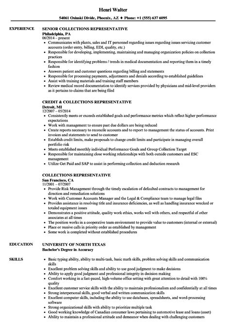 Collections Resume by Collections Representative Resume Sles Velvet