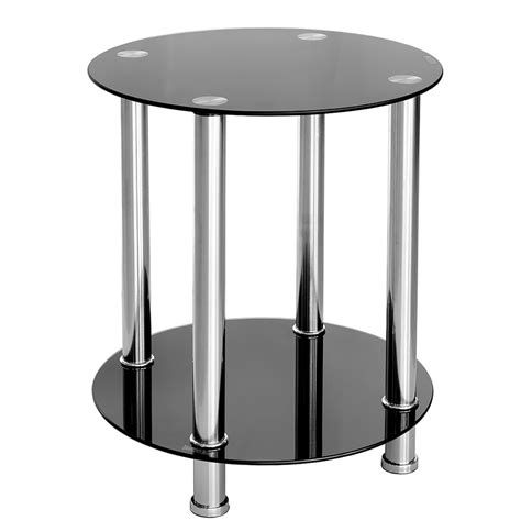 black glass end table furniture art by chaisse limited round black glass