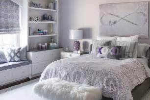 Gray Girl Bedroom With Purple Accents