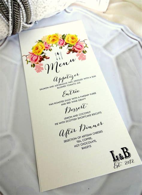 shabby chic wedding menu ideas menu card ideal for weddings rehersal dinners christenings 3 5x7 vintage shabby chic