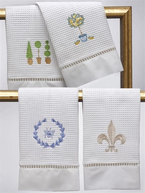 Embroidered Waffle Weave Guest Towels