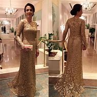 Gold Mother of the Bride Dresses Long Sleev…
