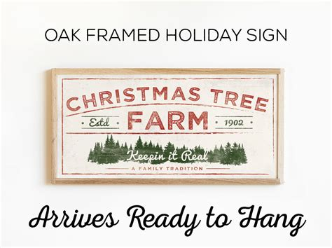 framed christmas tree farm sign rustic holiday art for