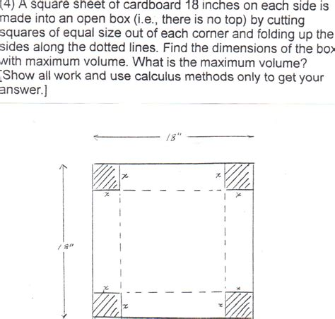 how big is 18 inches solved a square sheet of cardboard 18 inches on each side chegg com