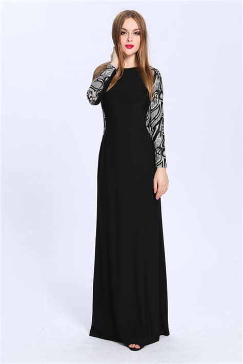 floor length black long sleeve formal dress evening gown