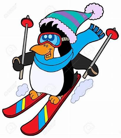 Skiing Clipart Penguin Cartoon Skier Skifahren Animals