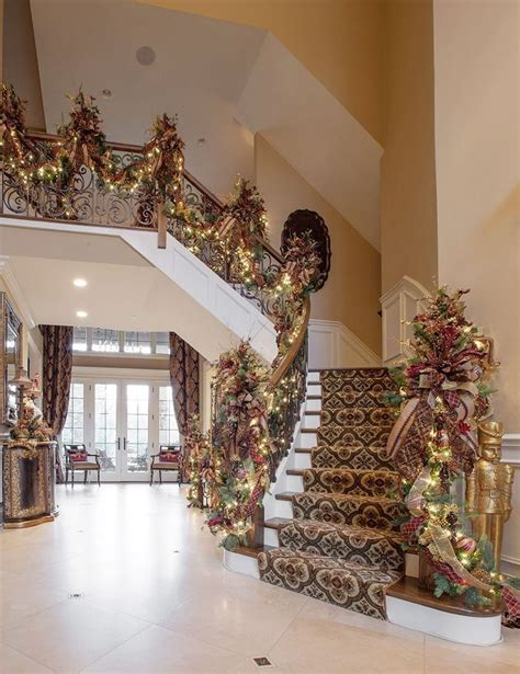 stunning christmas staircase decorating ideas foyers