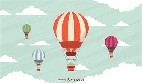 Conjunto de globos aerostáticos a rayas Descargar vector