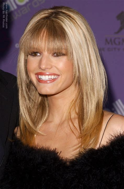 jessica simpson long sleek hairstyle   tapered front
