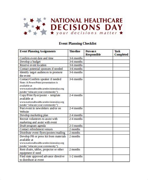 event checklist template checklist template 15 free word excel pdf document downloads free premium templates