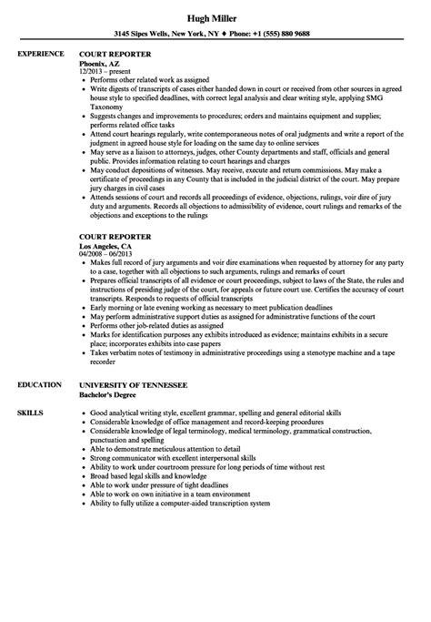 Reporter Resume by Court Reporter Resume Sles Velvet