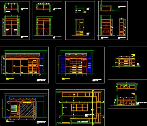 Cabinet Autocad Blocks by Wooden Kitchen Cabinets And Dressing Room Closets Dwg