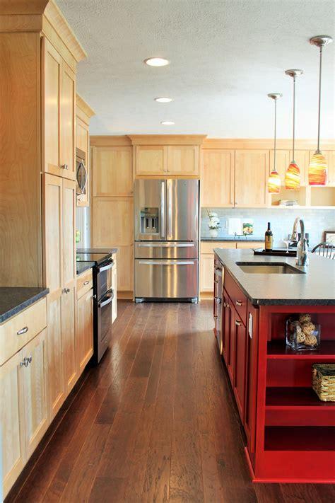 kitchen cabinets include natural birch shaker door