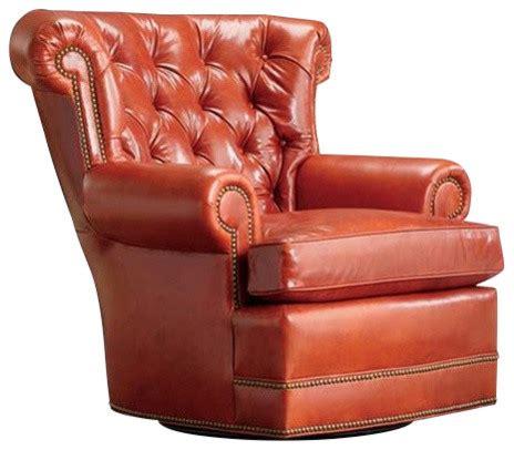 rockwood tufted swivel armchair burnt orange