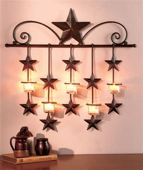 metal rustic barn star country home decor wall sconce
