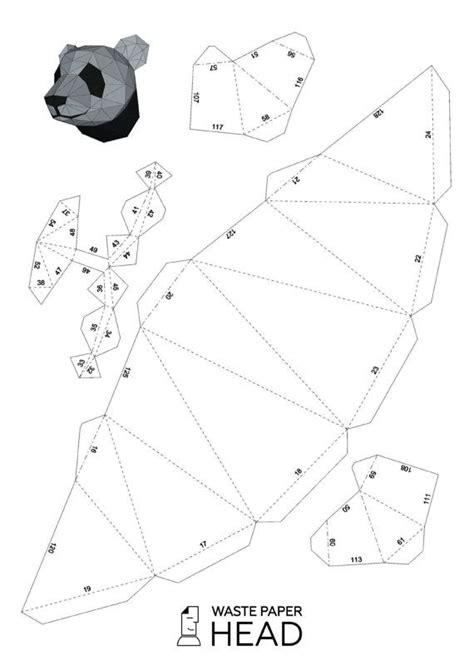 papercraft panda head printable digital template