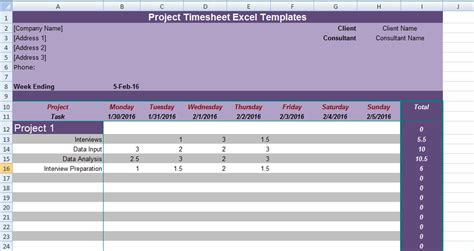 project timesheet excel templates excel project