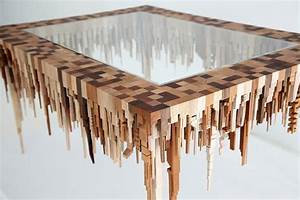 Amazing Wooden Table with Upside Down Town Miniature