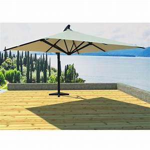 Parasol Déporté Carré : parasol d port carr soli 300cm cru ~ Mglfilm.com Idées de Décoration