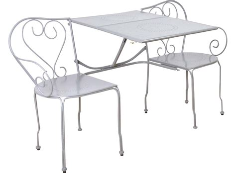 Banc De Jardin Convertible En Table + Chaises Classique (gris