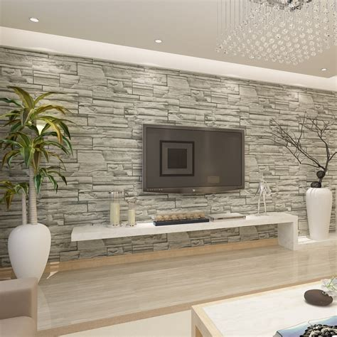 hanmero chinese style brick stone effect wallpaper hotel