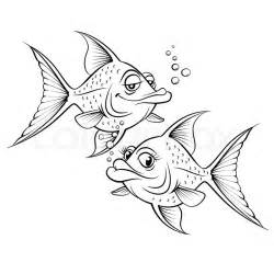 Two Cartoon Fish Drawing