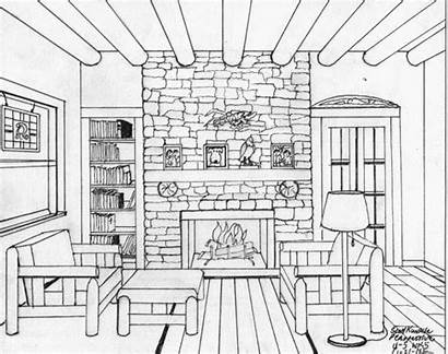 Perspective Drawing Sketch Drawings Coloring Interior Pages