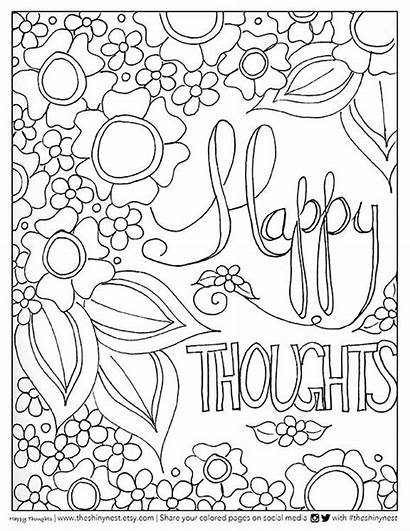 Coloring Pages Adult Happy Printable Quote Printables