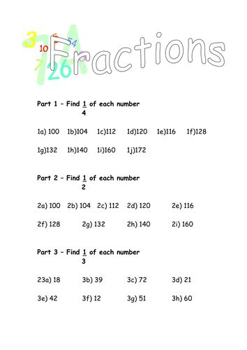 Finding Fractions Of Numbers By D487nt  Teaching Resources Tes