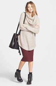 Picture Of With marsala midi pencil skirt black ankle boots and big bag