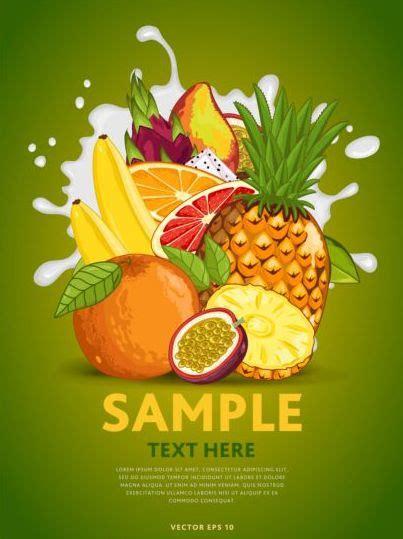 fruit composition milk poster design vector  vector