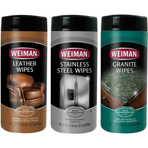 weiman stainless steel leather granite wipes care set