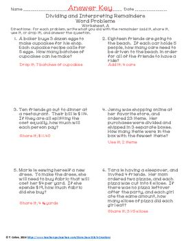 dividing and interpreting remainders worksheets by java stitch creations