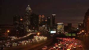 Towers And Skyscrapers Lighted Up At Night In Atlanta