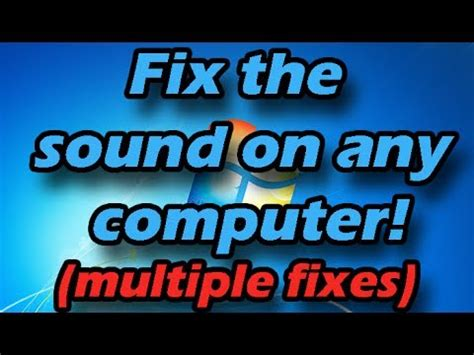 how to fix sound audio on any computer