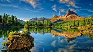 Lake, Mountain, Sky, Reflection, Desktop, Wallpapers, High