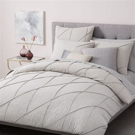 organic pleated grid duvet cover shams light gray