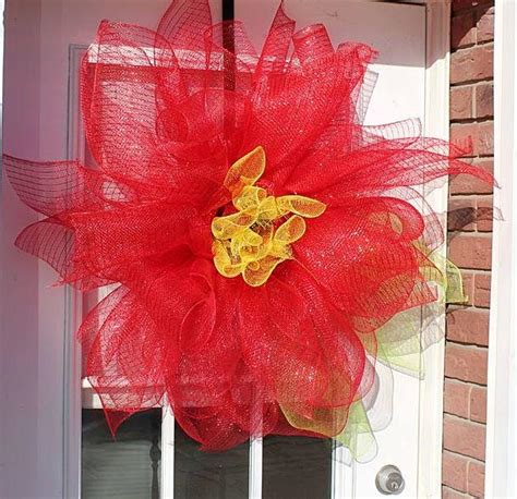 deco mesh poinsettia diy door decor